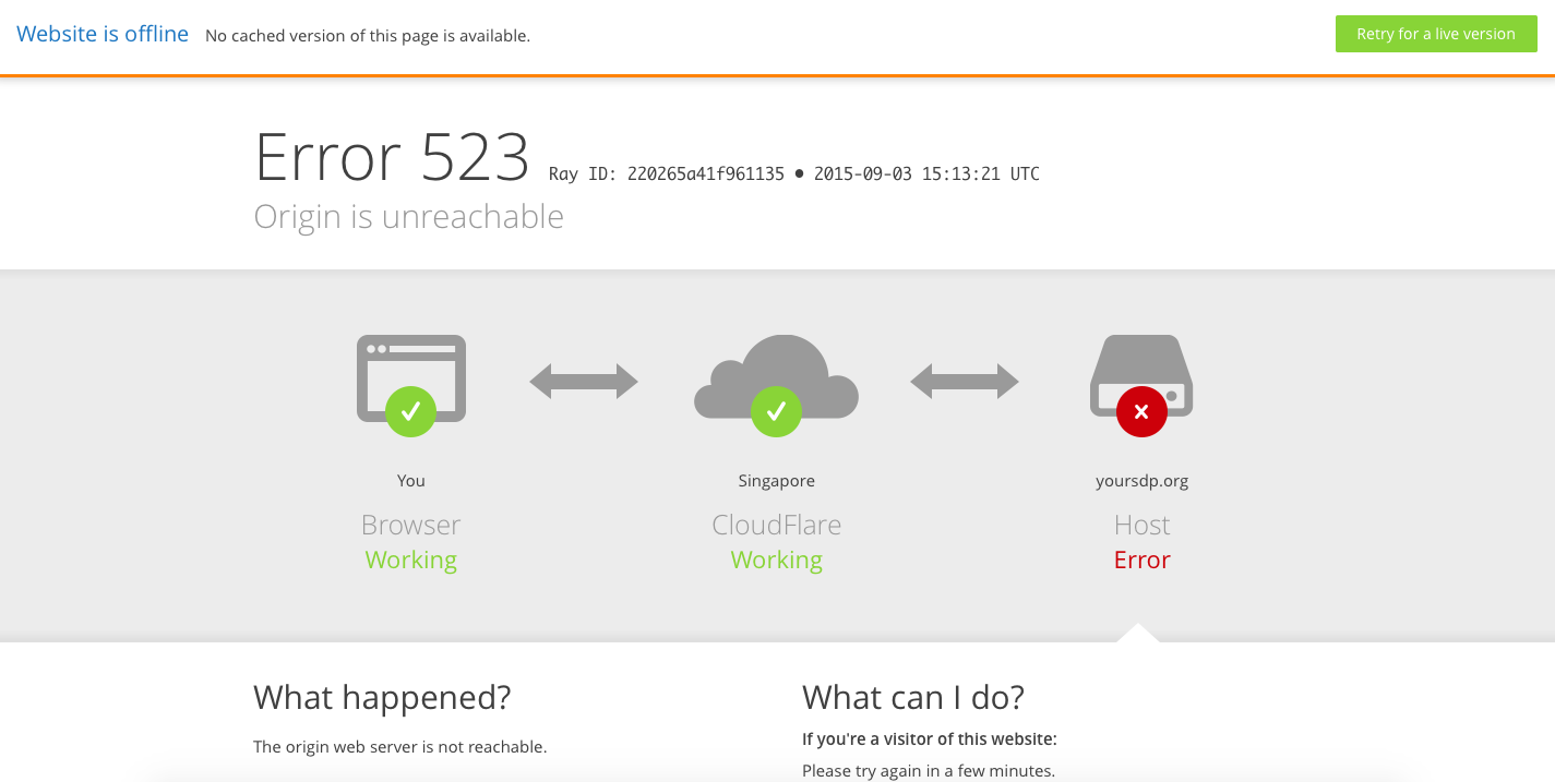 Screenshot from SDP website