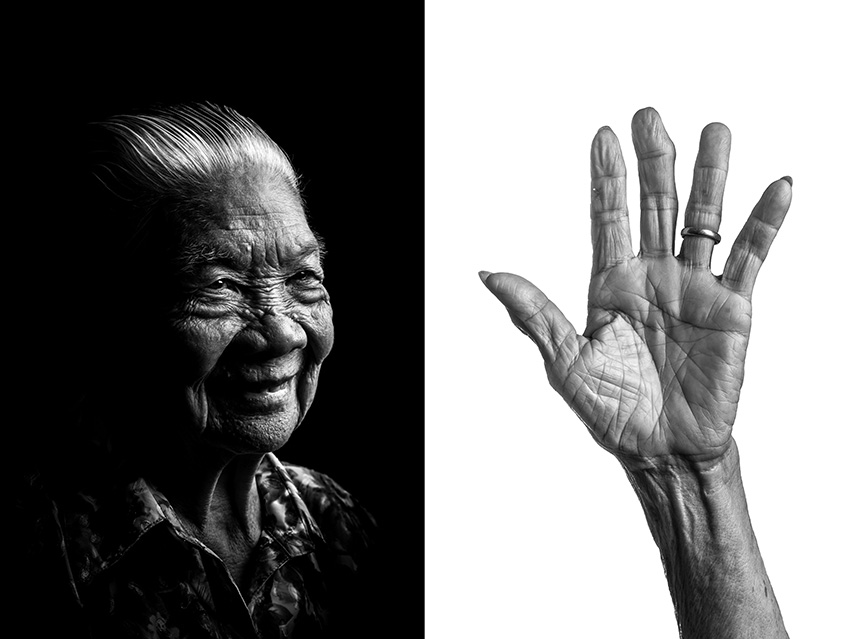 Wong Ah Woon, 89, came to Singapore from Shihui county in west central of Guangdong Province, China. At age 21 she worked as a Samsui woman, a labourer with distinctive red head-dress who took on backbreaking toil in construction sites. For over 20 plus years. she worked on sites in Thomson Road, Tekka, Shangri La Hotel and Marco Polo Hotel. All the money she earned was sent back home in China to support her family.