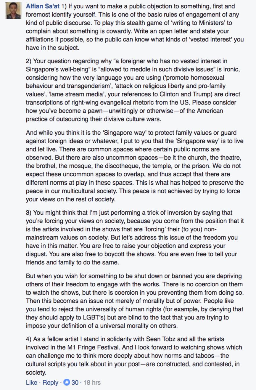 Screenshot from Facebook post