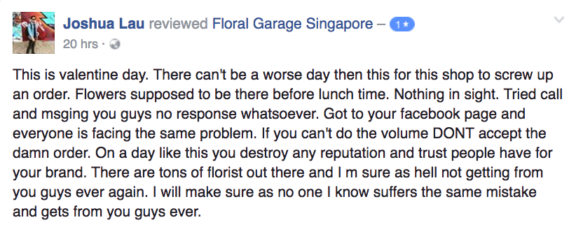 Screenshot from Floral Garage Facebook page