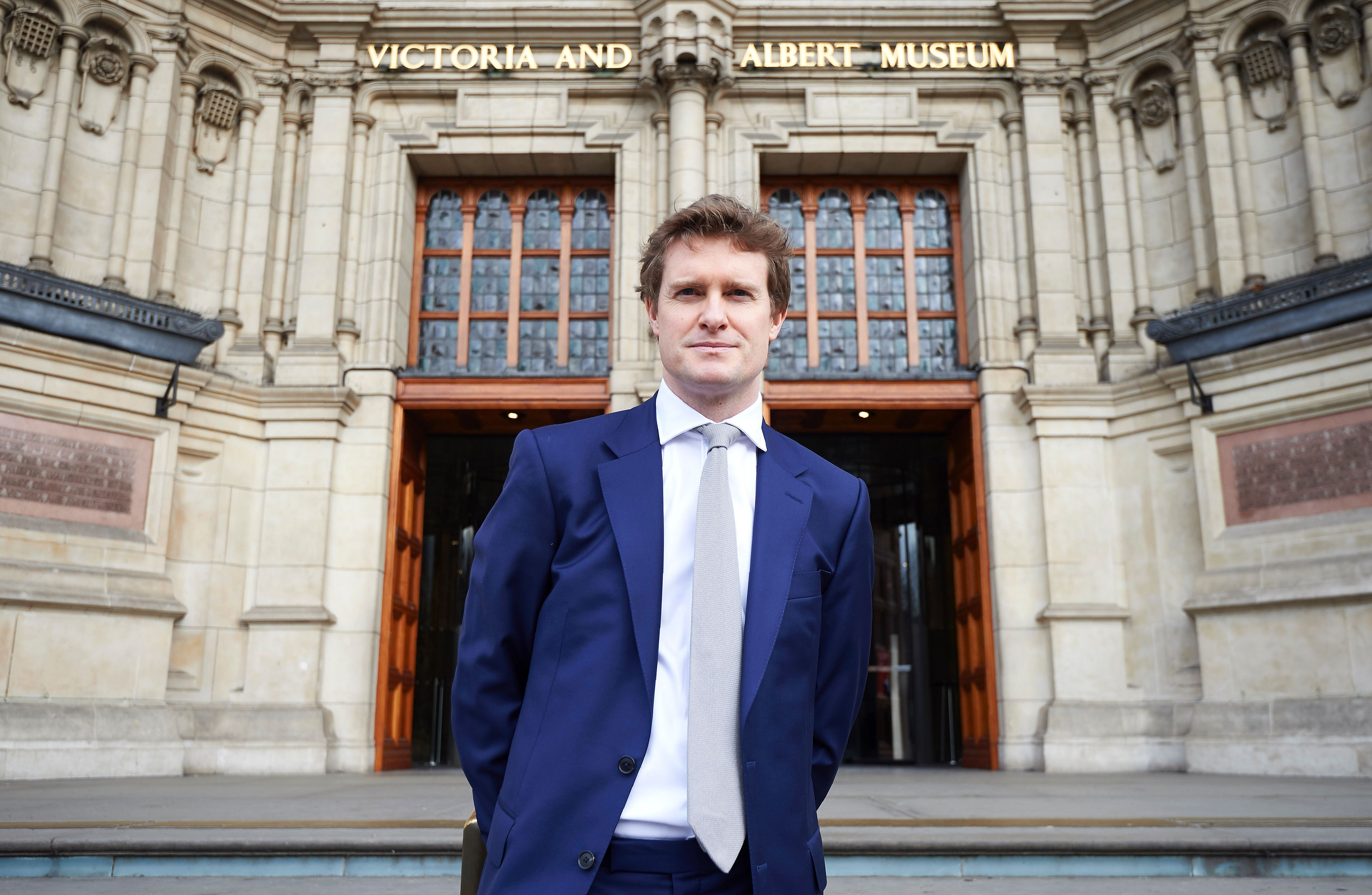 The Victoria & Albert Museum's newly appointer Director, Tristram Hunt, poses for photographers during a photocall outside the museum in London on February 20, 2017. / AFP / NIKLAS HALLE'N        (Photo credit should read NIKLAS HALLE'N/AFP/Getty Images)