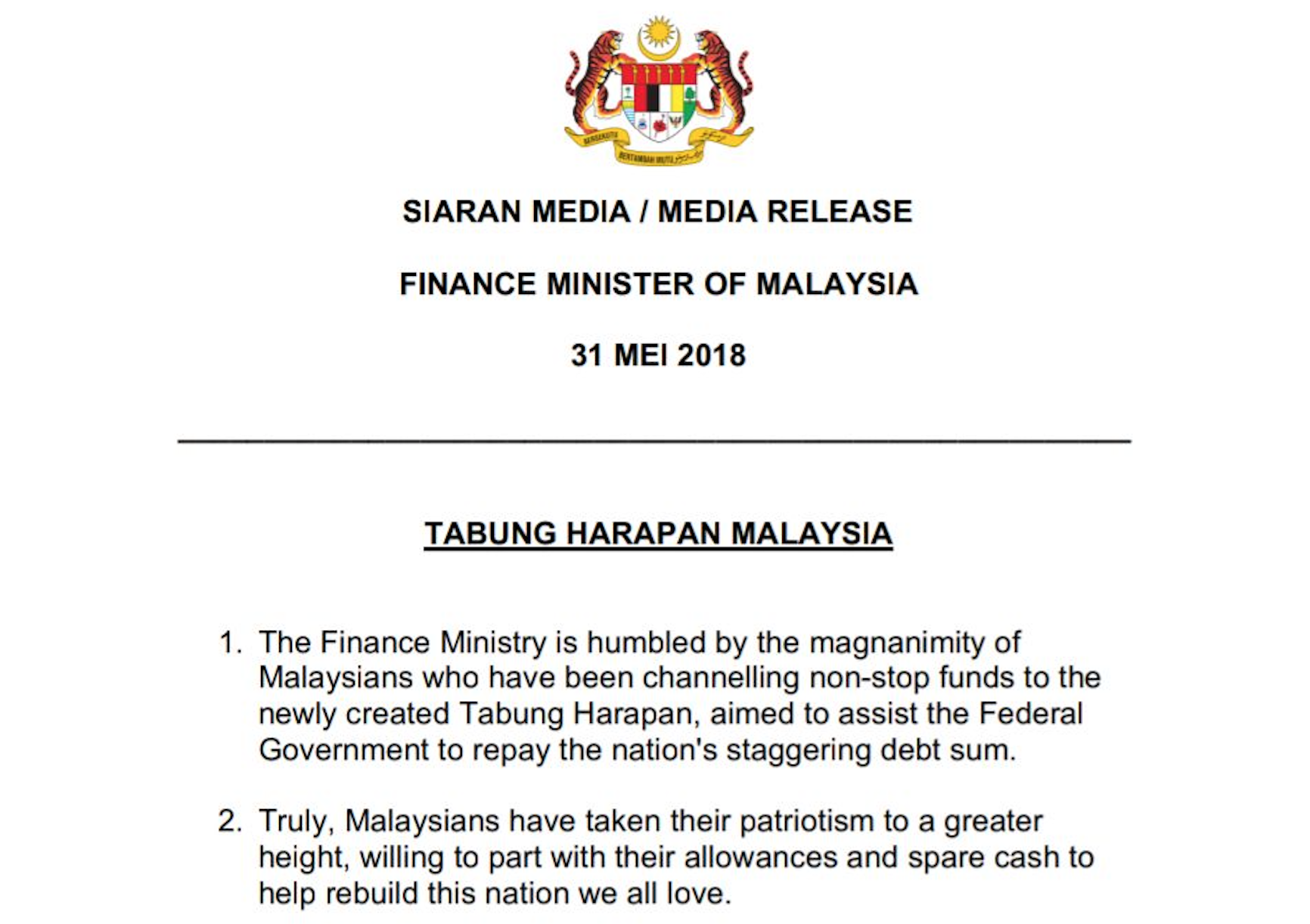 M Sians Donate Rm7 Million In 24 Hours To Reduce Rm1 Trillion National Debt Mothership Sg News From Singapore Asia And Around The World