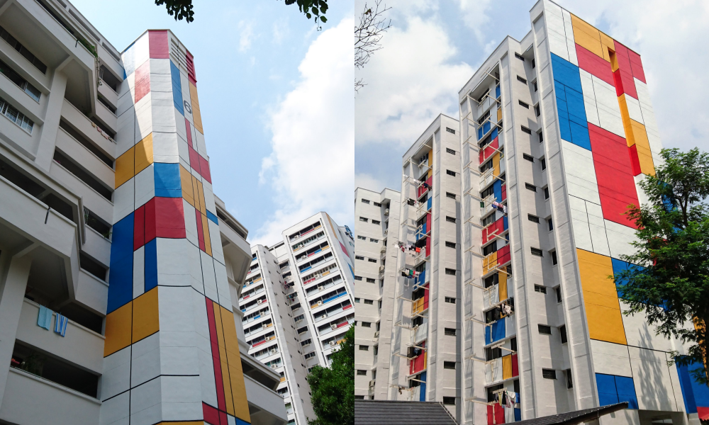 Teck Whye Avenue HDB blocks get Mondrian-inspired paint job ...