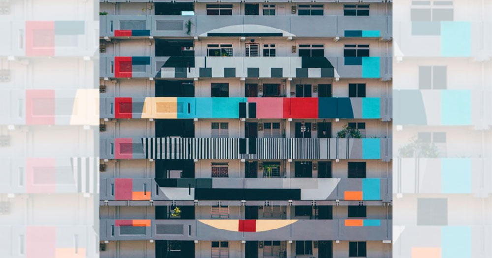 Tampines St 42 HDB block with TV test pattern design goes viral in ...