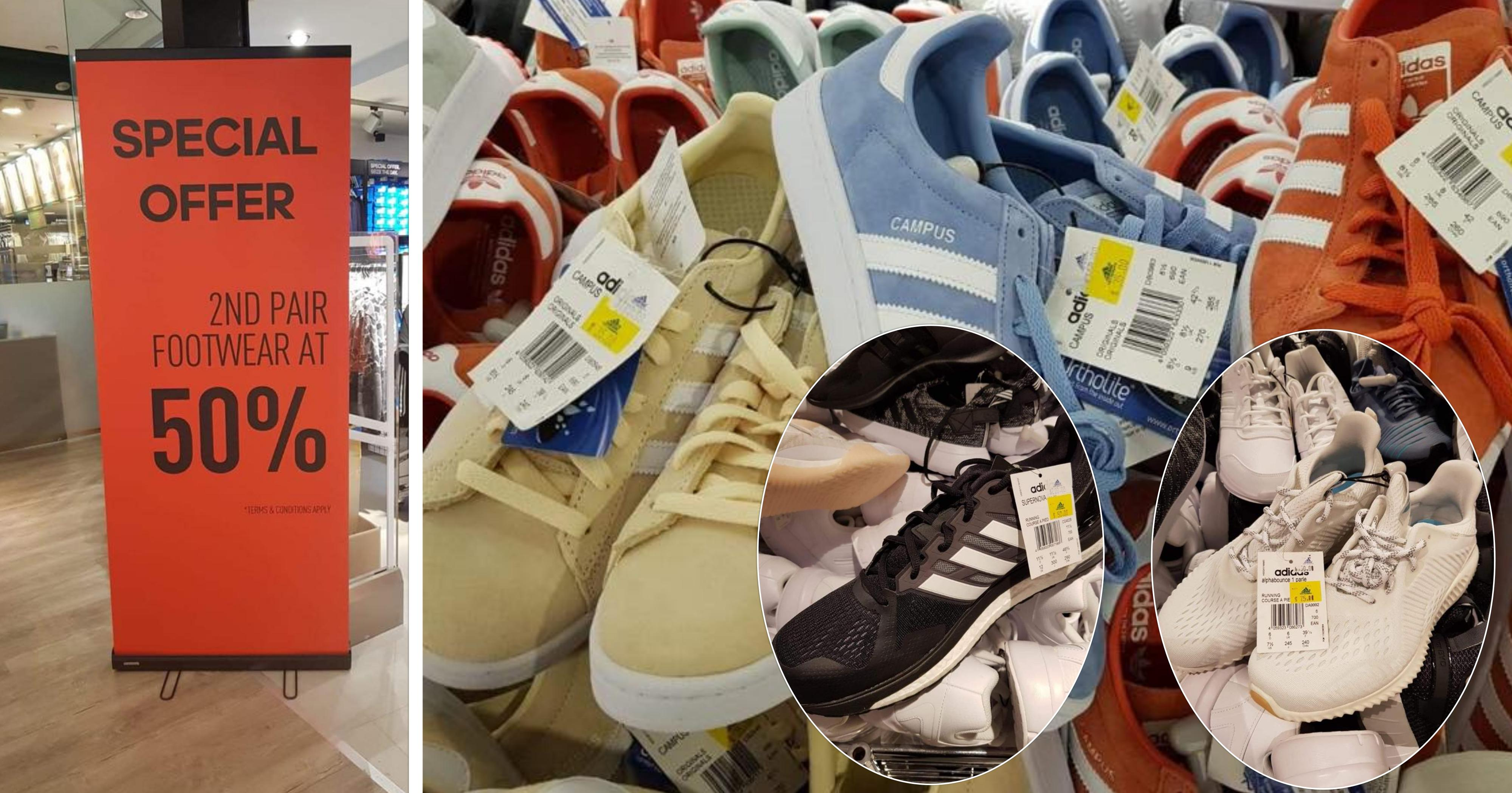 Adidas shoes going for S$35 - S$75 at