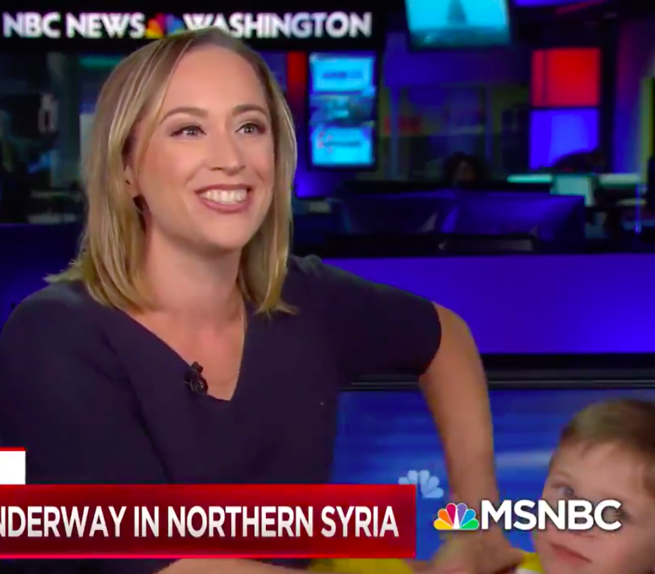 Screenshot of Courtney Kube and son on MSNBC Live TV