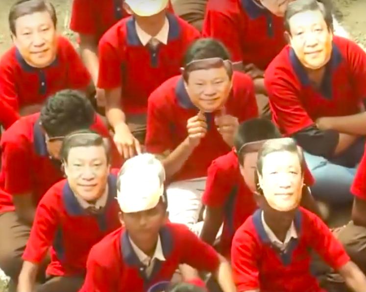 Indian children in Chennai wearing Xi Jin Ping masks
