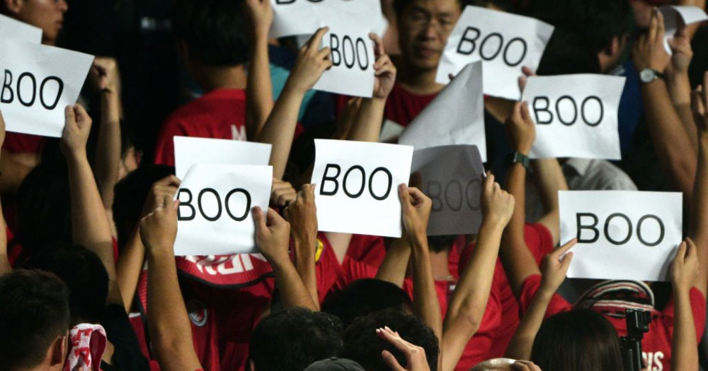 Hong Kong football fans booed China's national anthem.