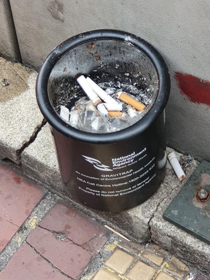 black container ashtray