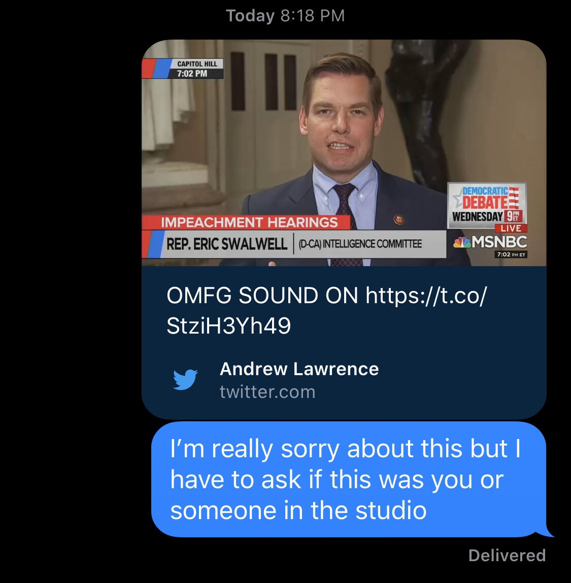 screenshot of messages between addy baird and eric swalwell