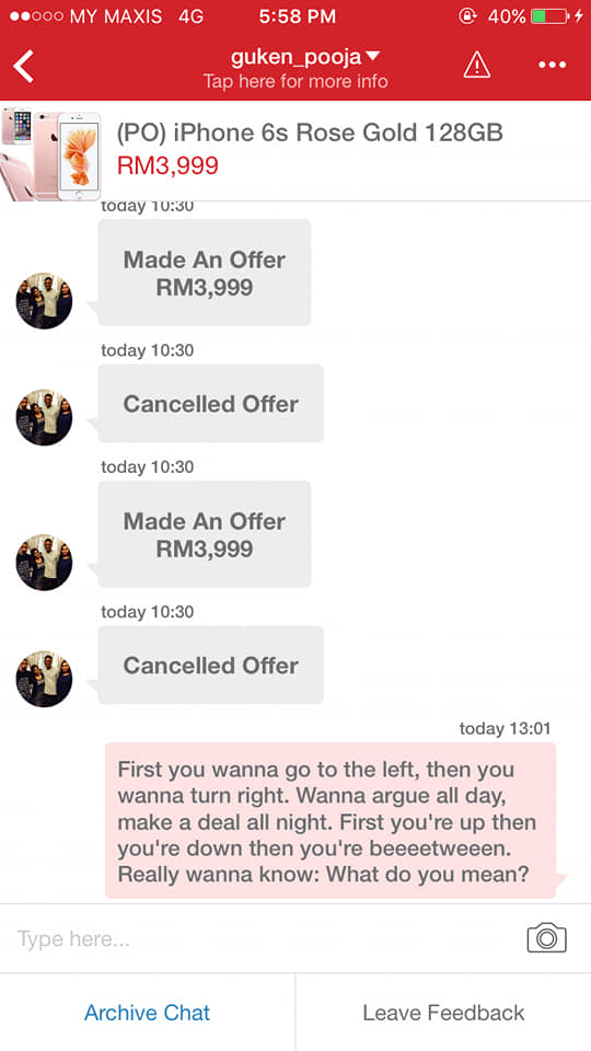 screenshot of Carousell chat