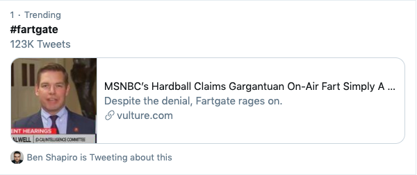 screenshot of Twitter explore page number 1 trending fartgate