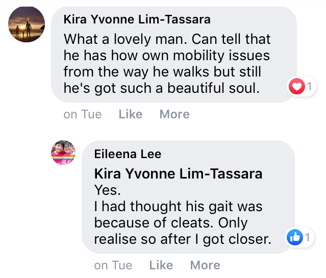 screenshot of Facebook comments about Grabfood delivery man