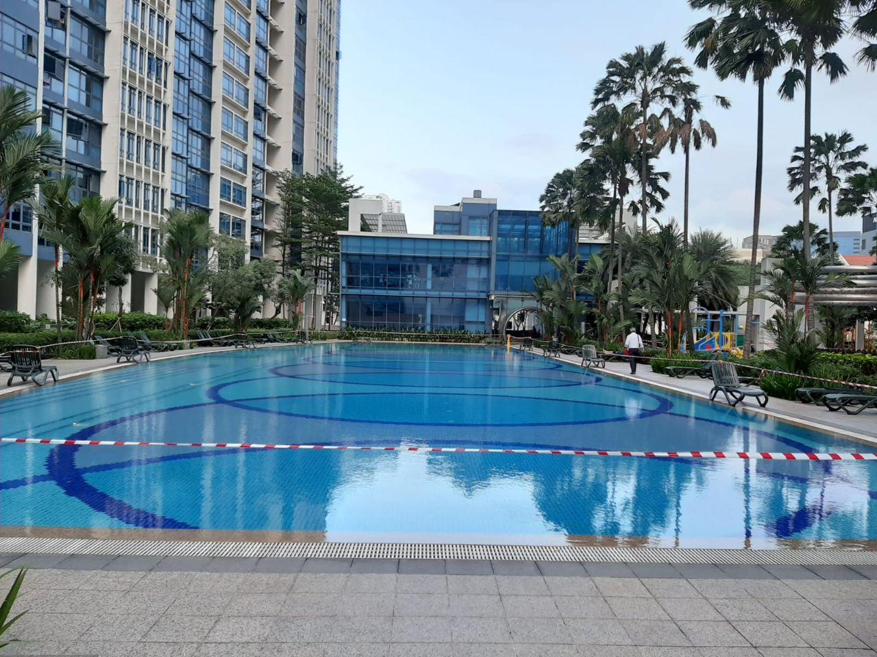 City square residences swimming pool barricaded