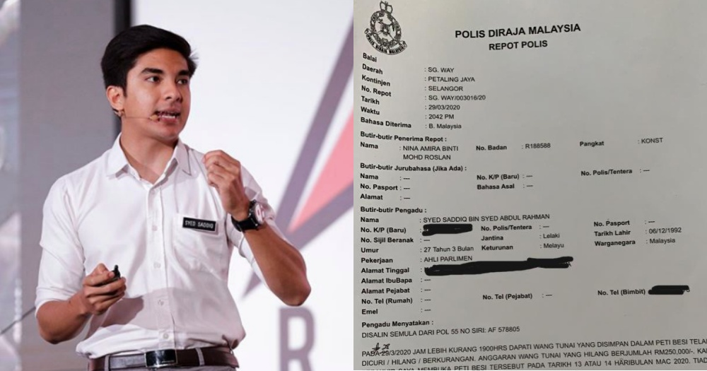 Syed Saddiq files police report after house gets robbed, over S ...