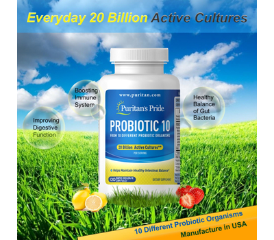 puritans pride probiotic 10 20 billion 120 capsules item031643 2203 9426436 720195b1534e7fe16074218a093a2440