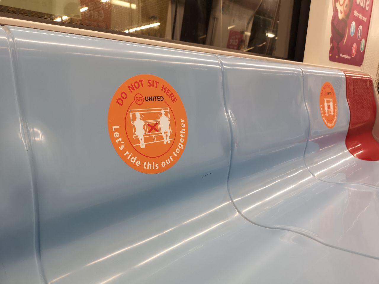 safe distancing sticker on smrt train