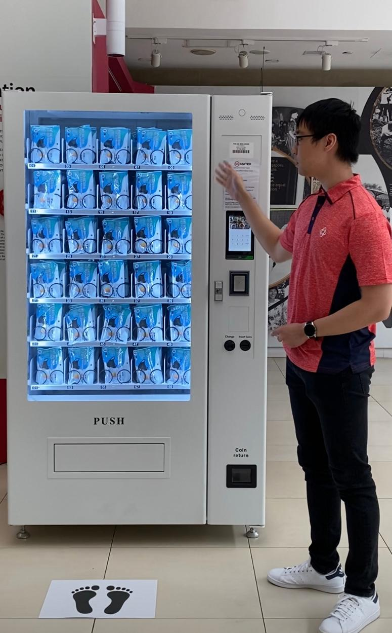 An example of how the vending machines that will distribute the cloth masks will look like.