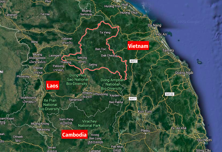 screenshot of sekong province in Laos