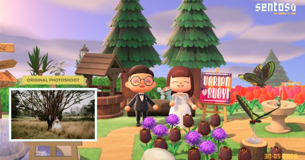 couple holds wedding in Sentosa's Animal Crossing island