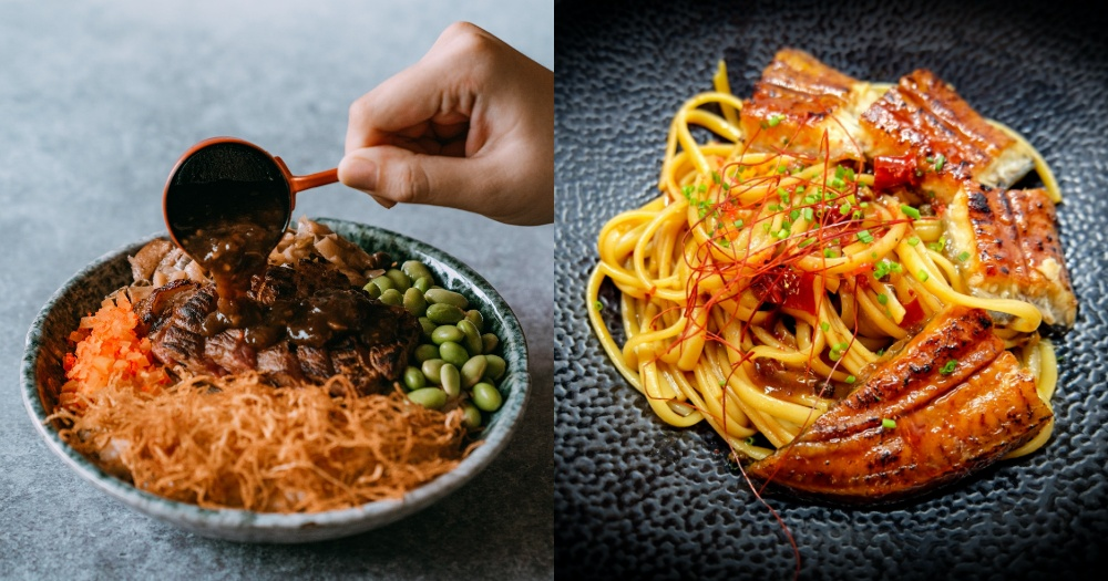 Medium-rare wagyu beef bowl & mala unagi pasta under S at Outram eatery