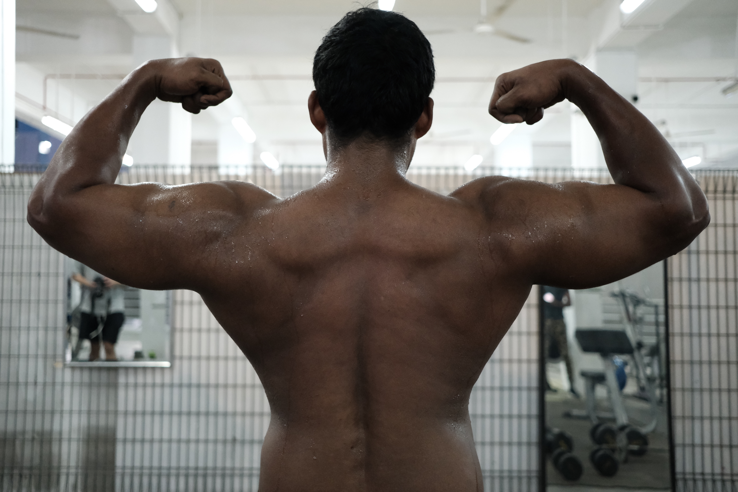 Image of Murugesan as he works out