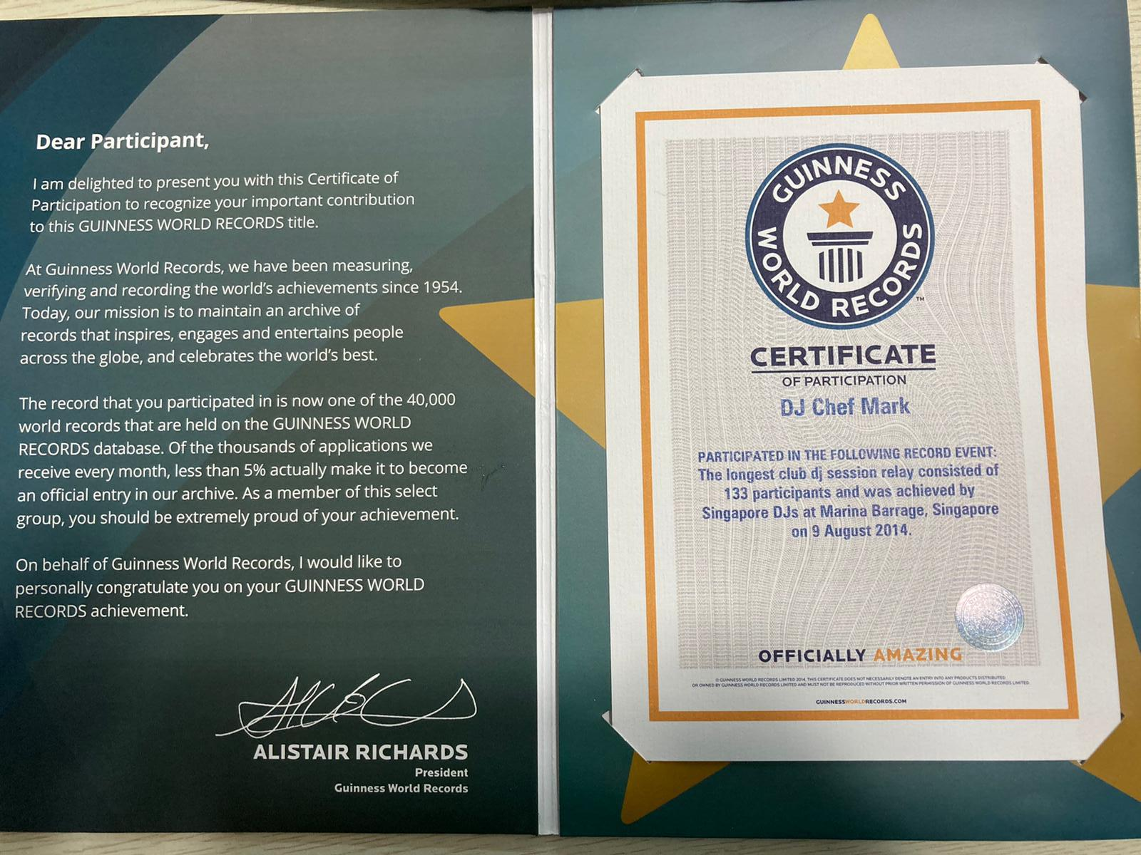 Image of Mark Tay's Guinness Book of World Record's certificate