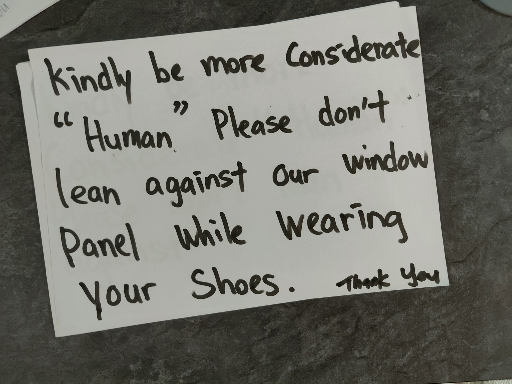 Notice put up by Tan